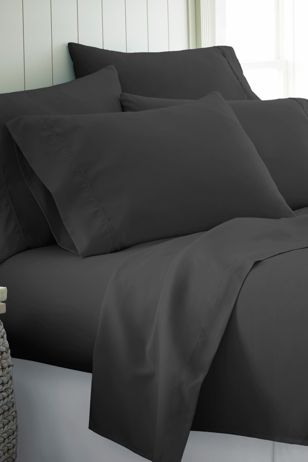 Image of IENJOY HOME Full Hotel Collection Premium Ultra Soft 6-Piece Bed Sheet Set - Black