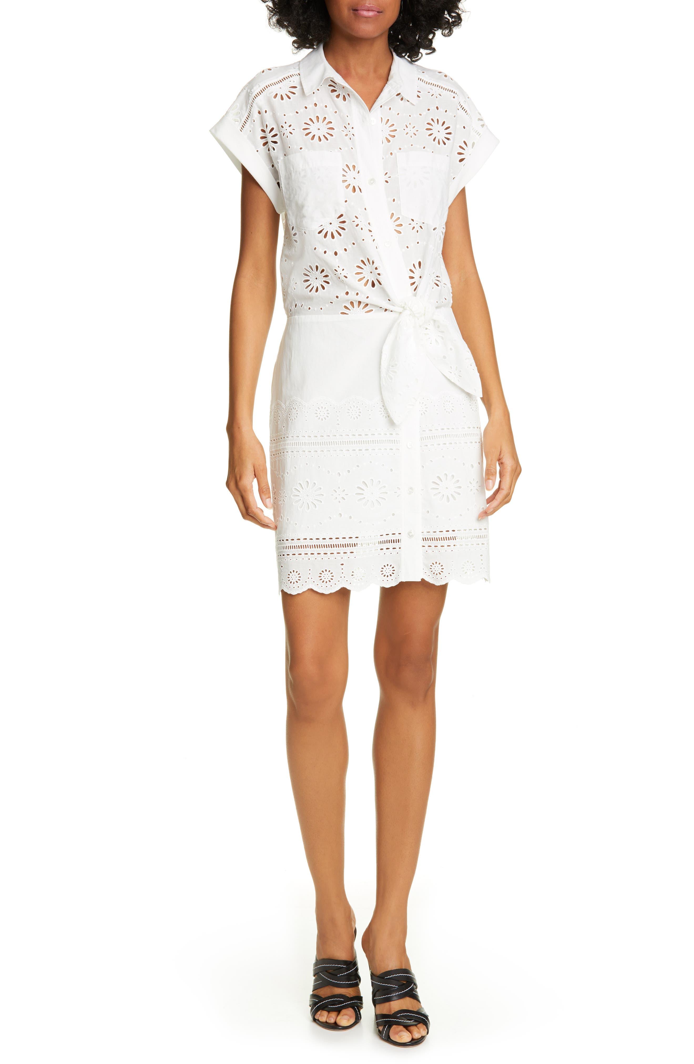 Bettina Eyelet Minidress, Main, color, BLACK/ WHITE