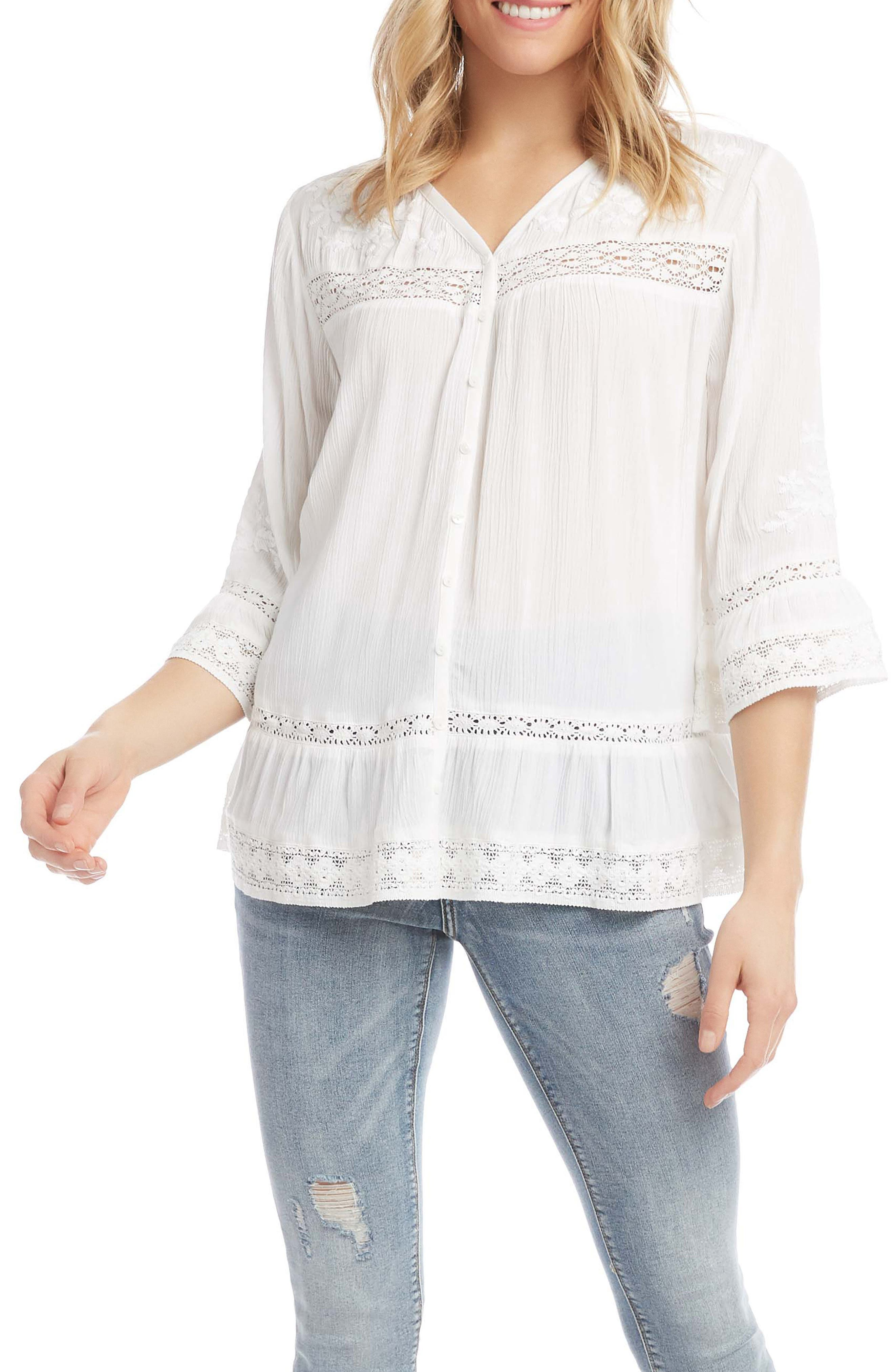 Embroidered Lace Inset Bell Sleeve Top