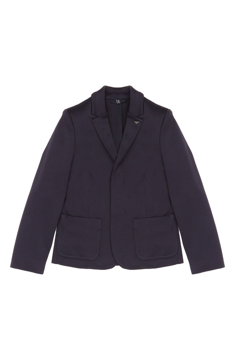 ARMANI JUNIOR Logo Blazer, Main, color, BLU NAVY