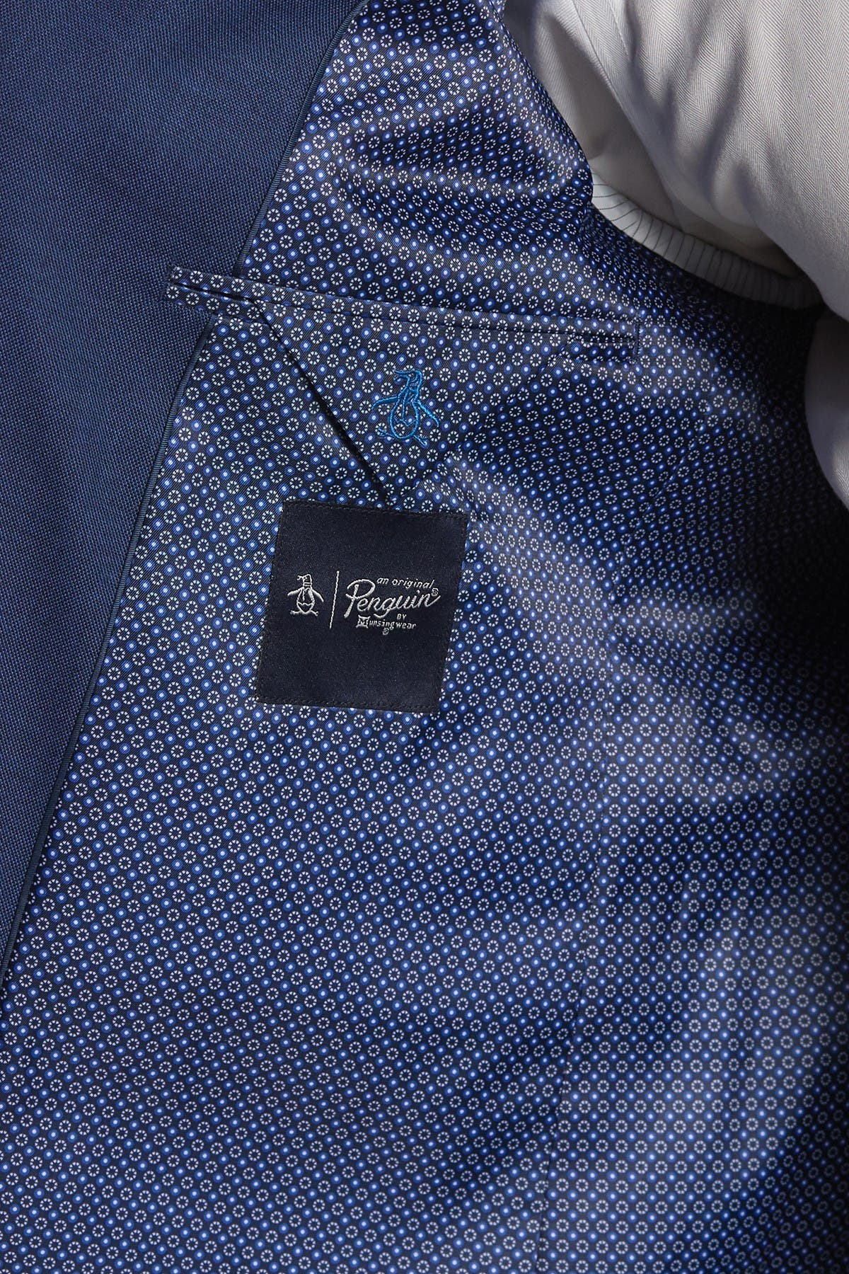 Image of Original Penguin Nested Blue Sharkskin Slim Fit 2-Piece Suit