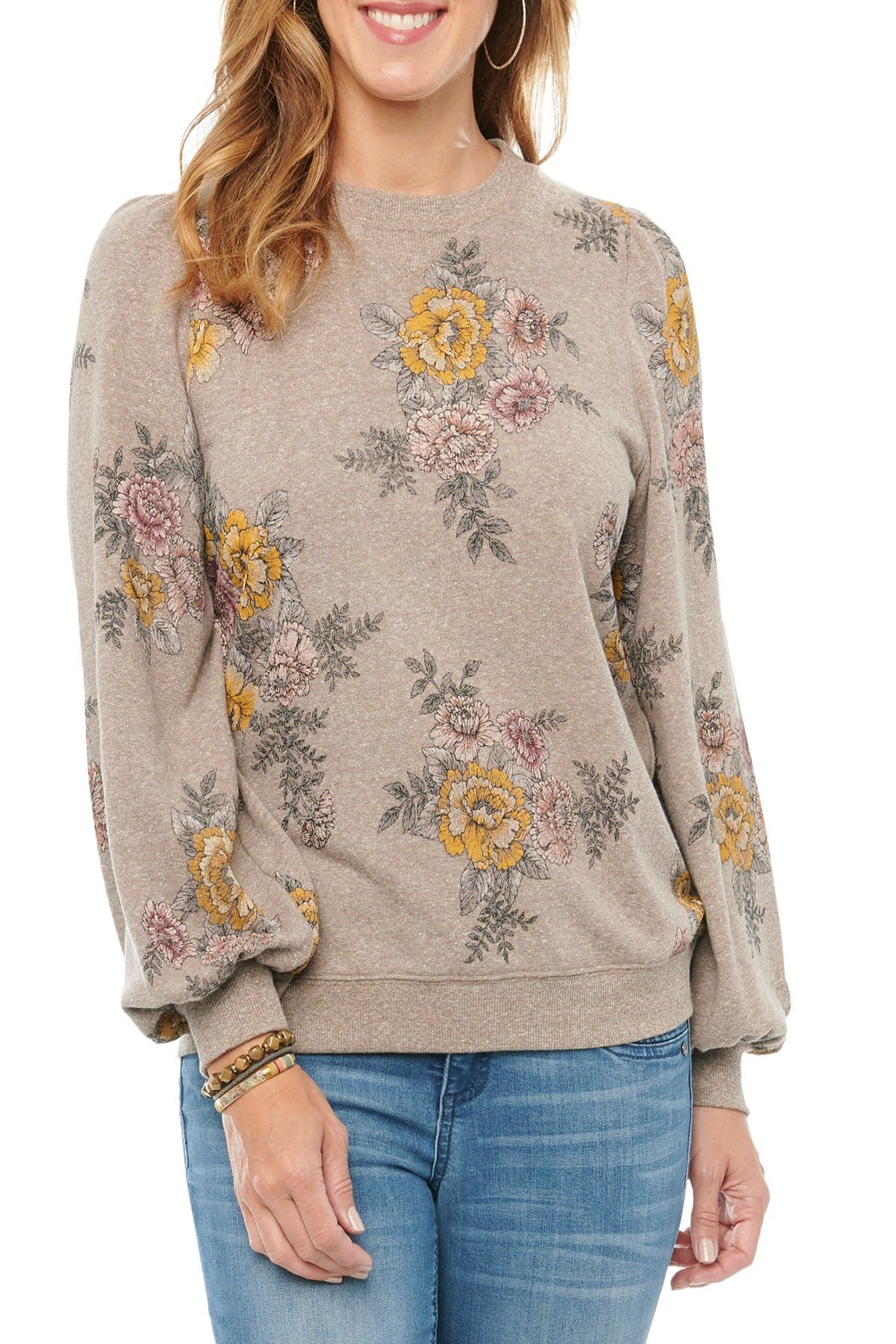 Image of Democracy Floral Long Blouson Puff Sleeve Scoop Sweater