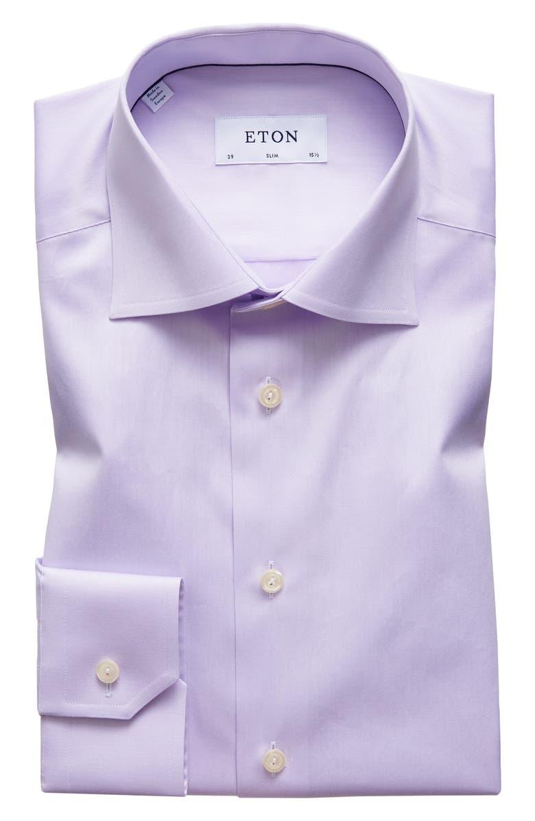ETON Slim Fit Solid Dress Shirt, Main, color, LAVENDER