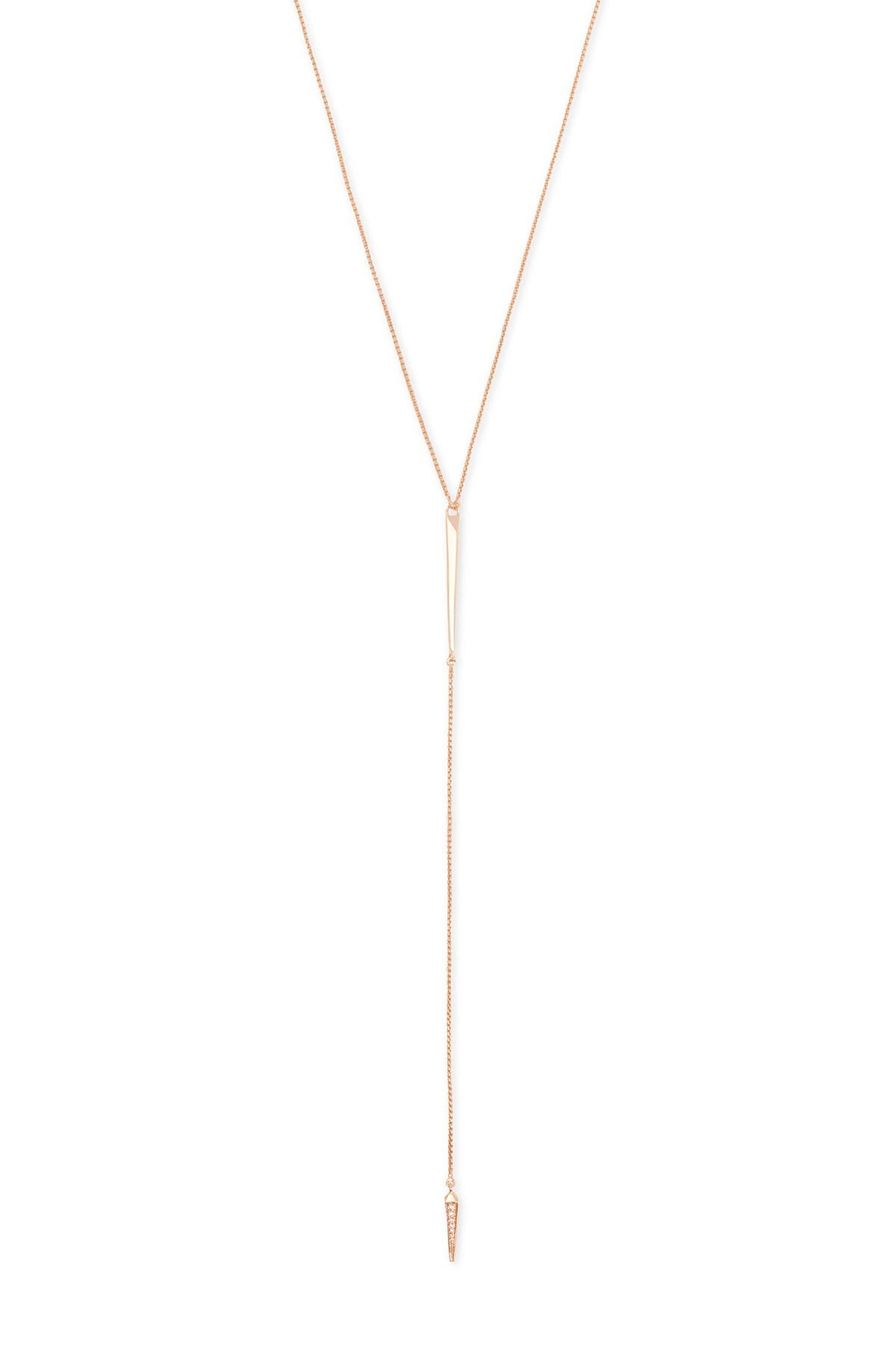 Image of Kendra Scott Vivian Rhodium Plated Brass Drusy Pendant Y-Drop Necklace