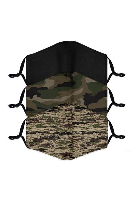 Image of FASHION MASKS Reusable Fashion Adult Face Mask - Pack of 3 - Camo Green