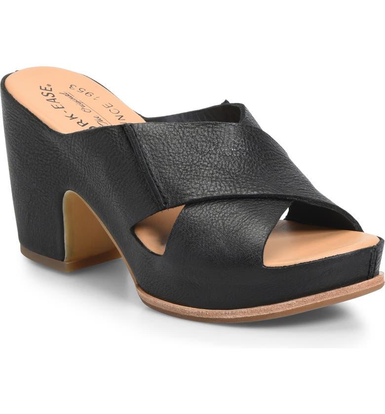 KORK-EASE<SUP>®</SUP> Garden Platform Slide Sandal, Main, color, BLACK LEATHER