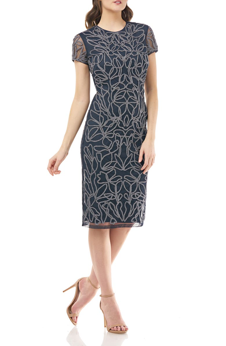 JS COLLECTIONS Soutache Mesh Cocktail Dress, Main, color, SILVER NAVY