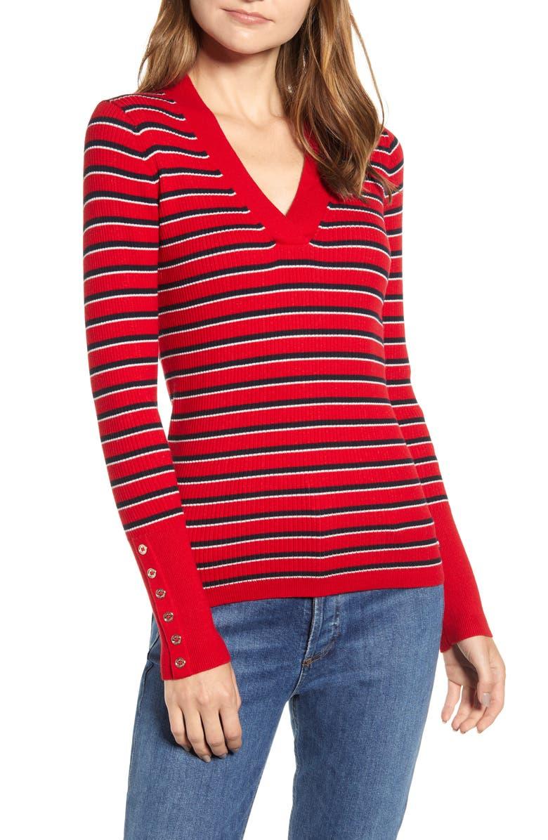 TOMMY HILFIGER Stripe V-Neck Sweater, Main, color, 612