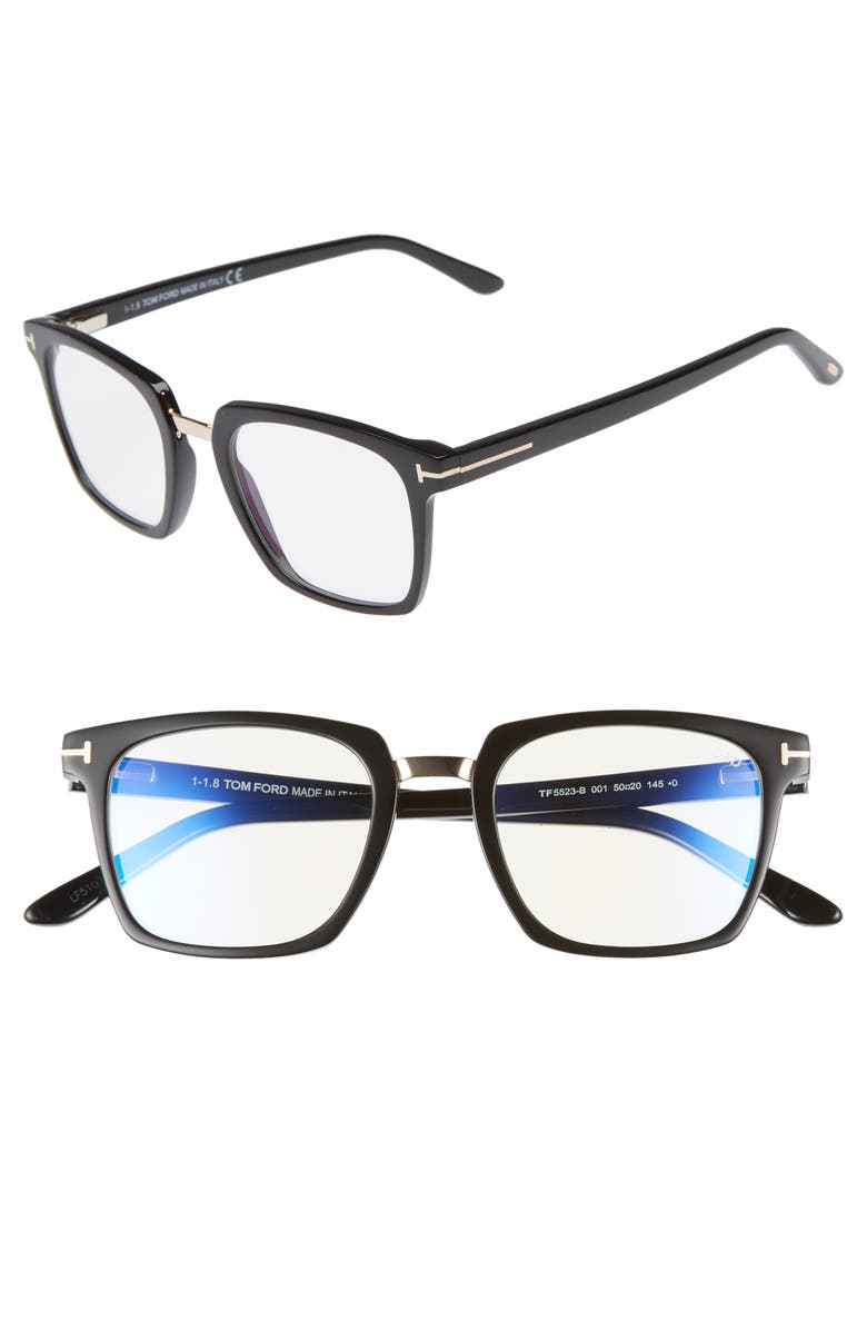 TOM FORD 50mm Blue Block Optical Glasses, Main, color, SHINY BLACK