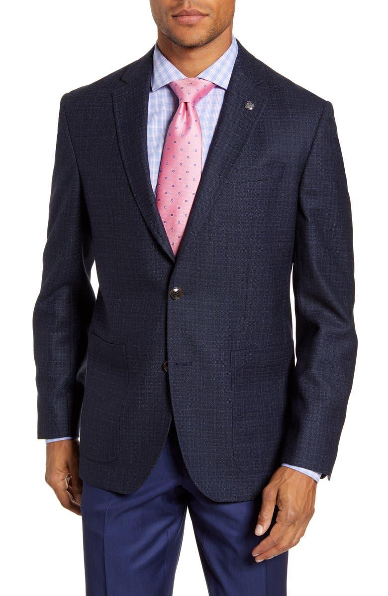 TED BAKER LONDON Kyle Trim Fit Solid Wool Sport Coat, Main, color, BLUE
