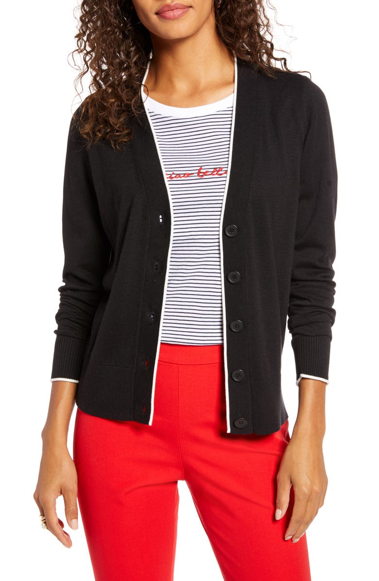 1901 Tipped Front Button Cardigan, Main, color, BLACK