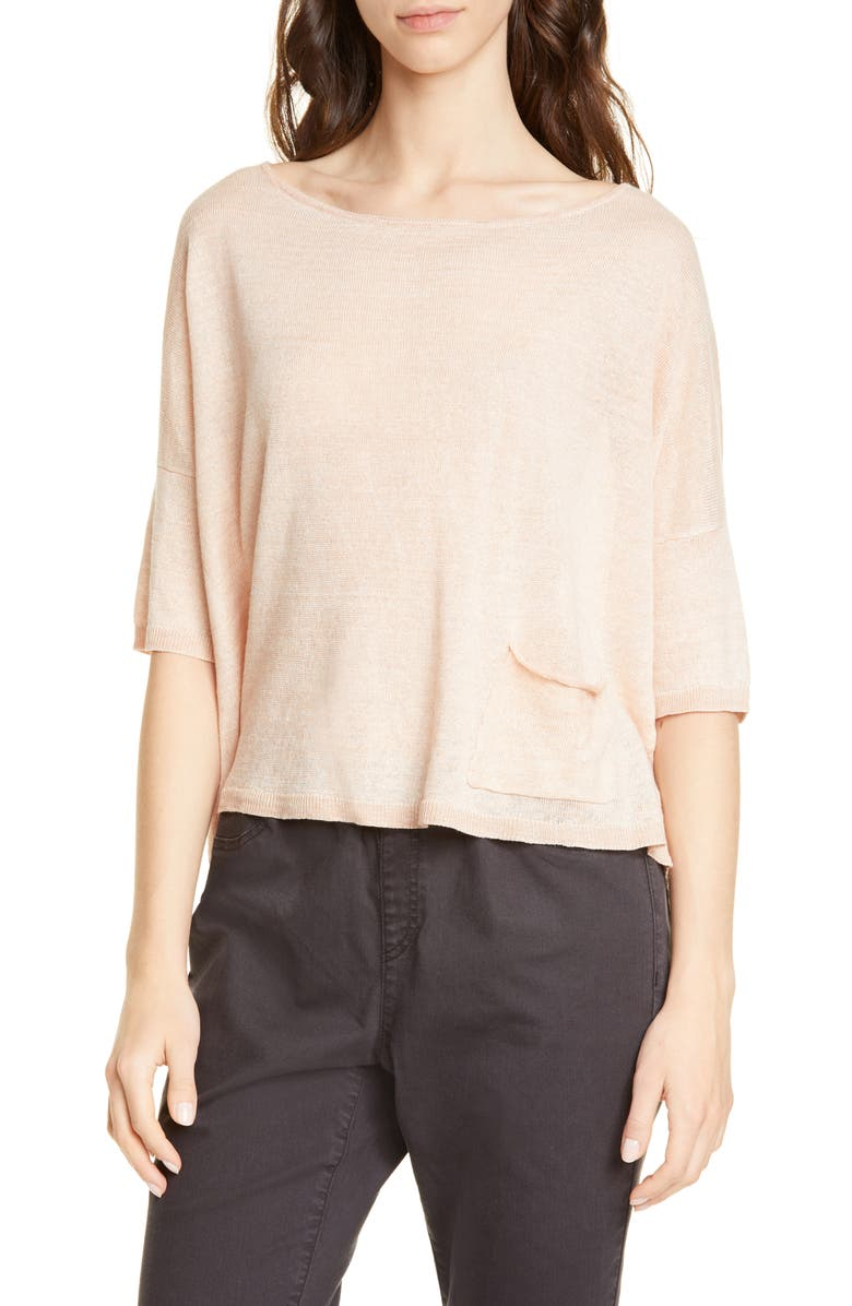 EILEEN FISHER Bateau Neck Organic Linen Boxy Top, Main, color, DUNE