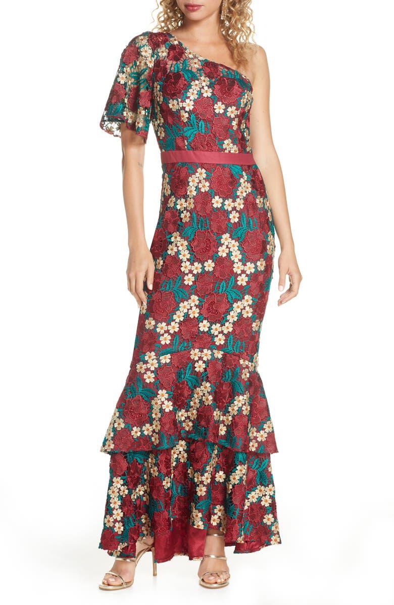 CHI CHI LONDON Jennifer One-Shoulder Crochet Lace Evening Gown, Main, color, MULTI