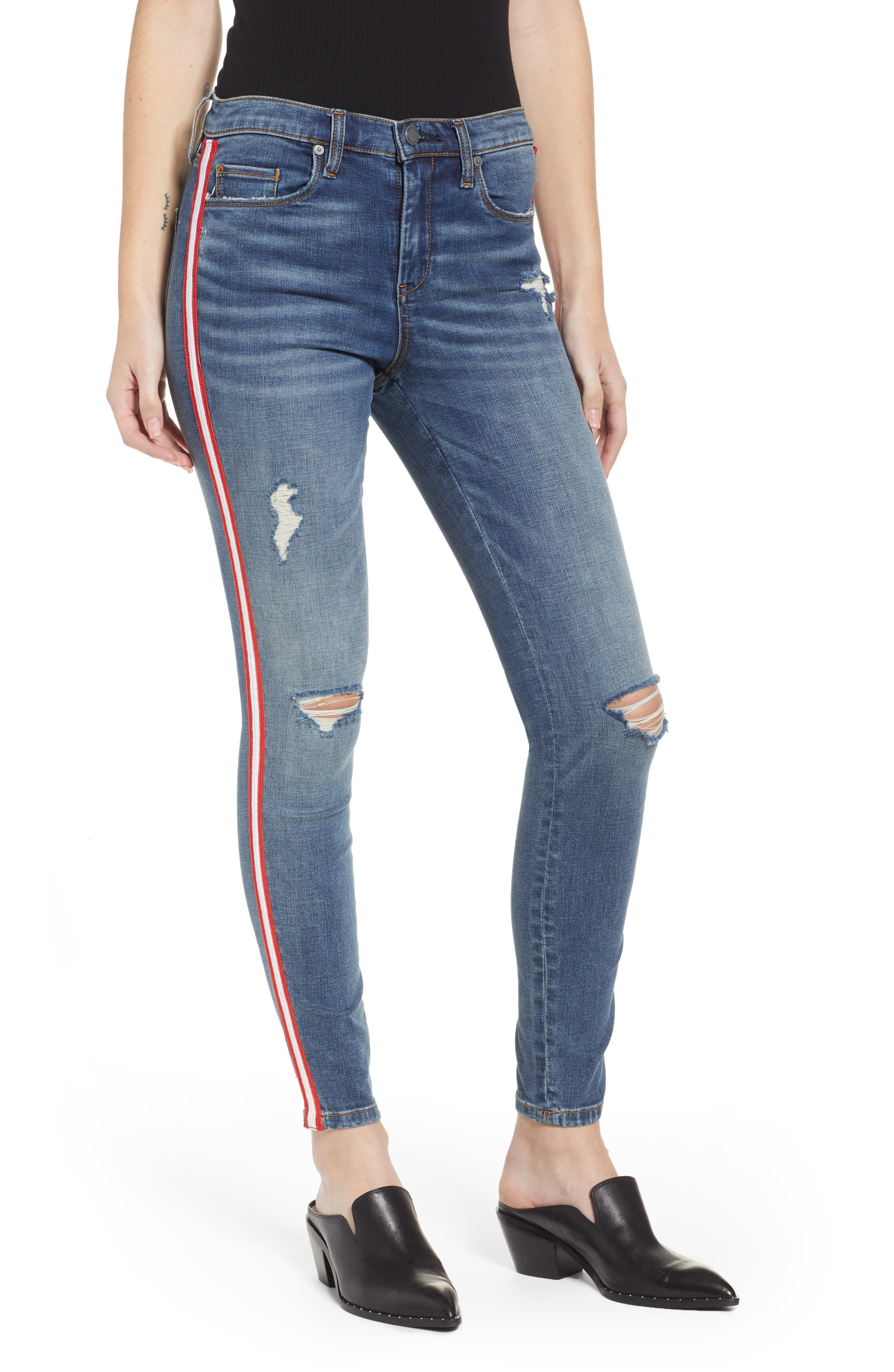 Side Stripe Ripped Ankle Skinny Jeans, Main, color, JERSEY GIRL