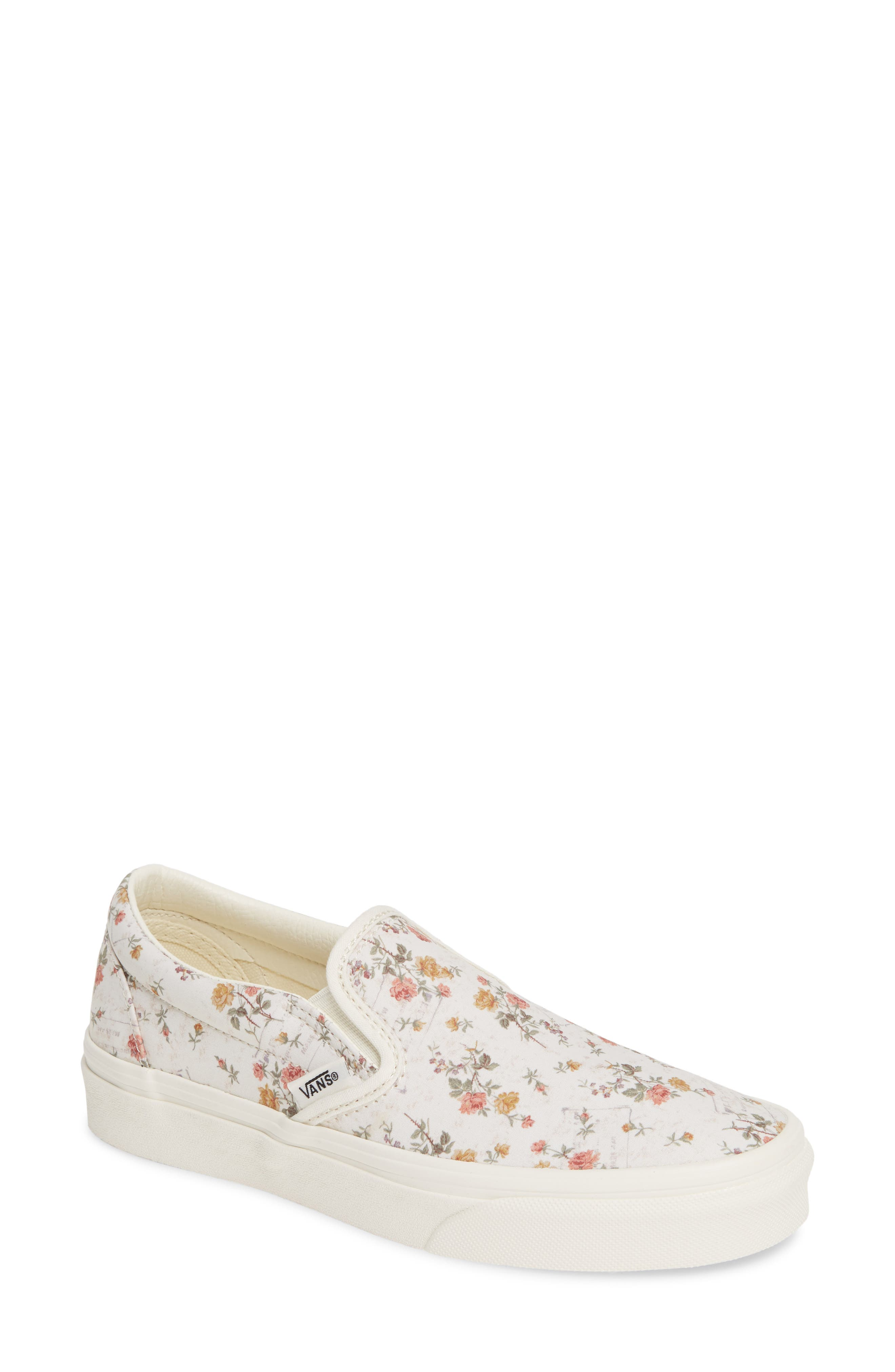 Classic Slip-On Sneaker, Main, color, VINTAGE FLORAL/ MARSHMALLOW