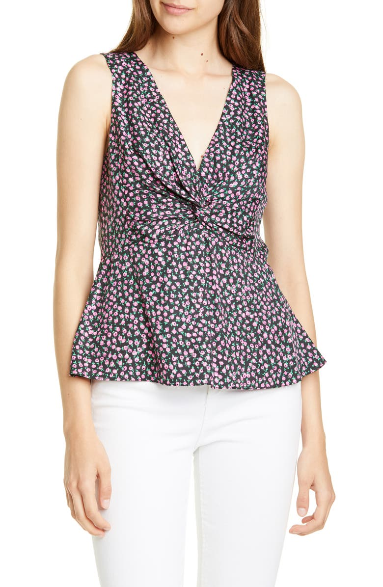 REBECCA TAYLOR Wild Rose Print Tank, Main, color, BLACK