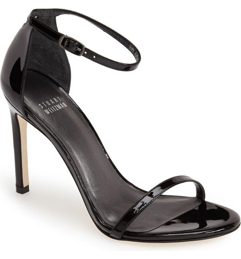 STUART WEITZMAN Nudistsong Ankle Strap Sandal, Main, color, BLACK PATENT