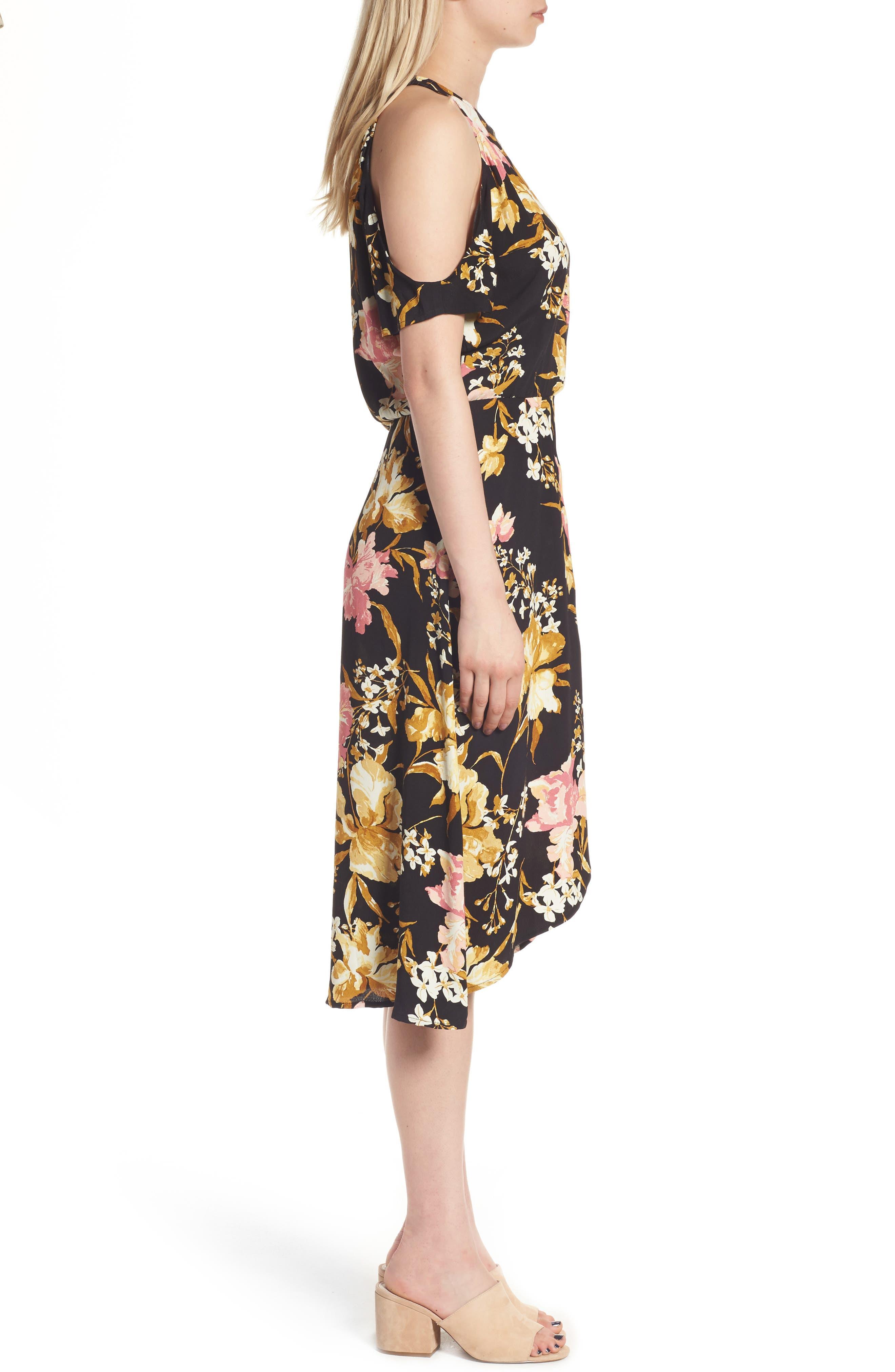 ,                             Cold Shoulder Midi Dress,                             Alternate thumbnail 3, color,                             001