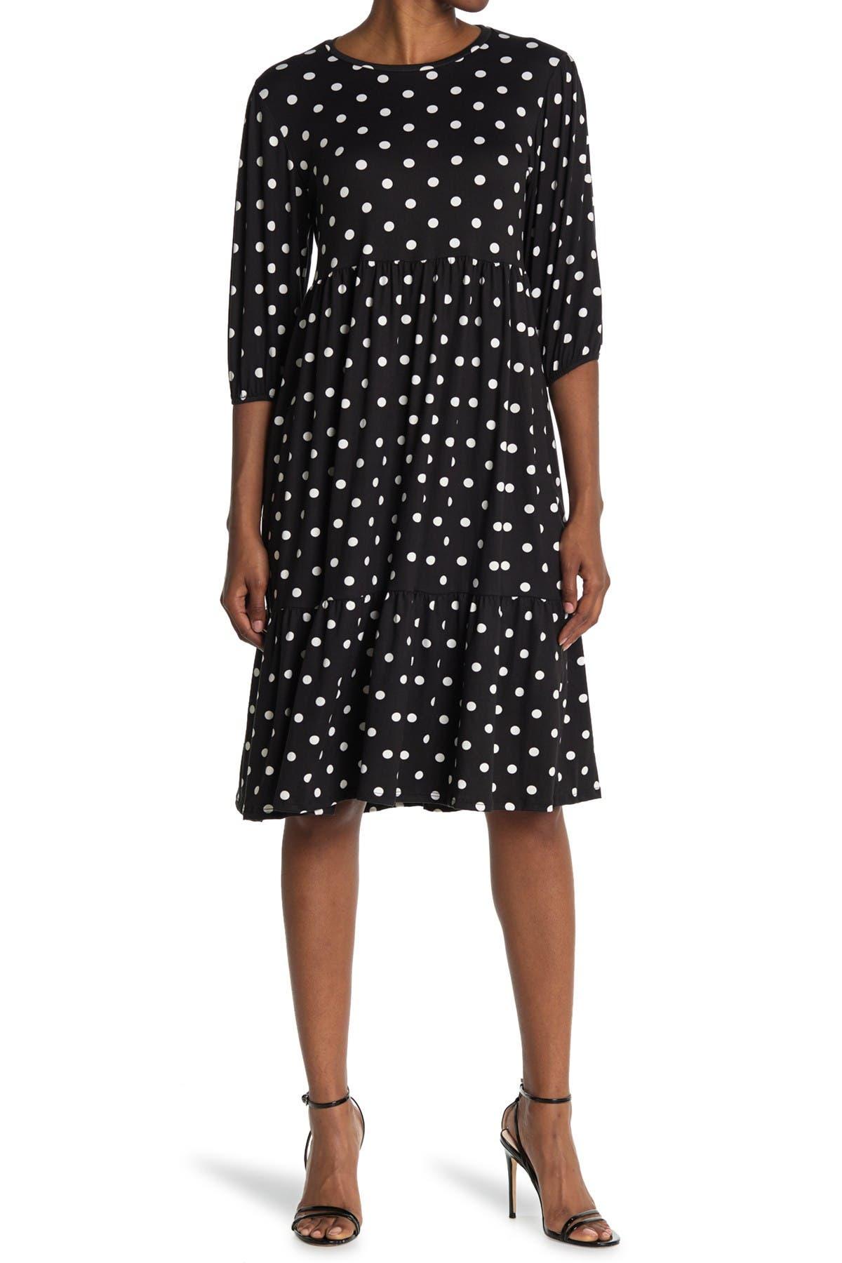 Image of Velvet Torch Polka Dot Print Tiered Midi Dress