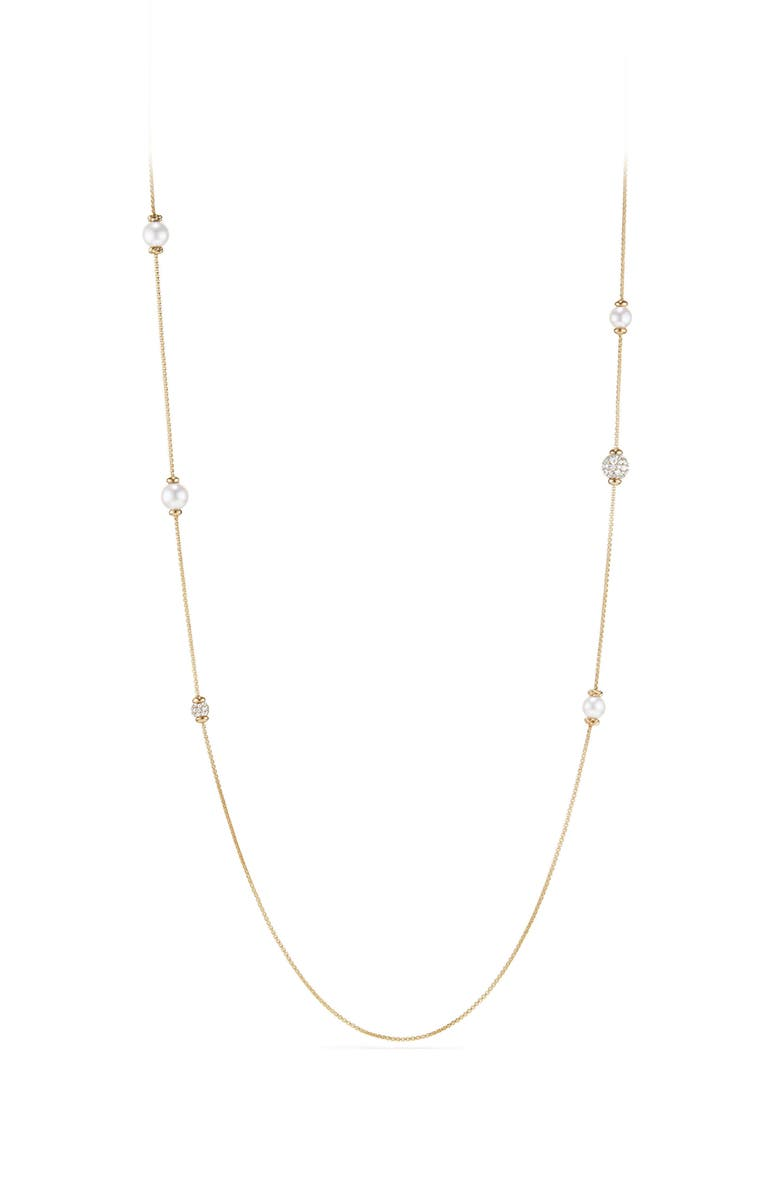 DAVID YURMAN Solari Long Station Necklace with Pearls & Diamonds in 18K Yellow Gold, Main, color, YELLOW GOLD/ DIAMOND/ PEARL