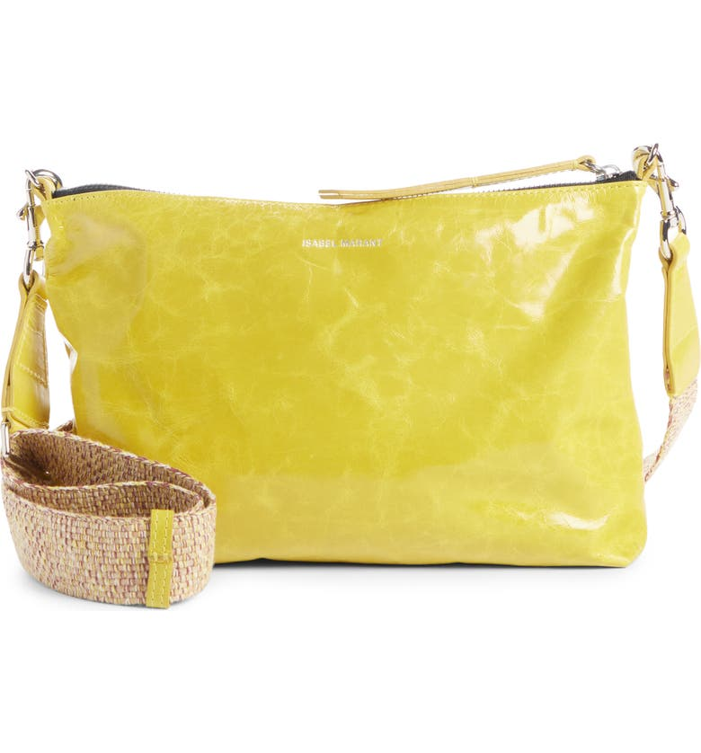 ISABEL MARANT New Nessah Calfskin Leather Crossbody Bag, Main, color, YELLOW