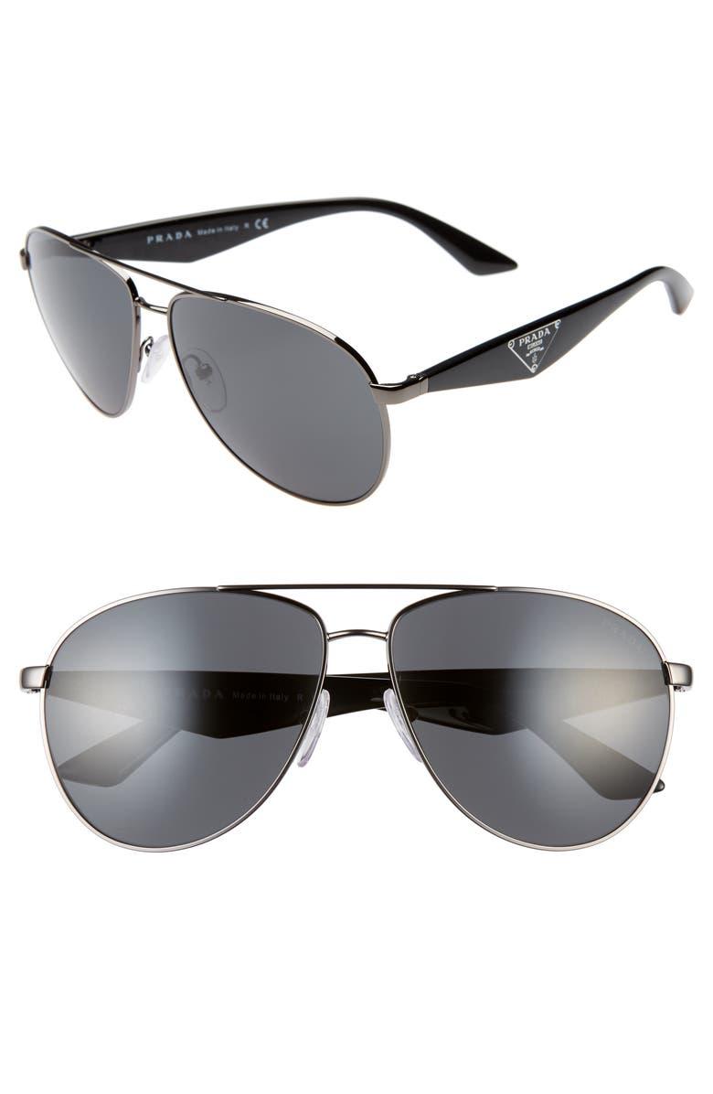 PRADA 60mm Aviator Sunglasses, Main, color, GUNMETAL/ GREY SOLID
