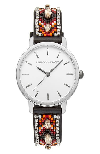 Image of Rebecca Minkoff BFFL Beaded Leather Strap Watch, 36mm