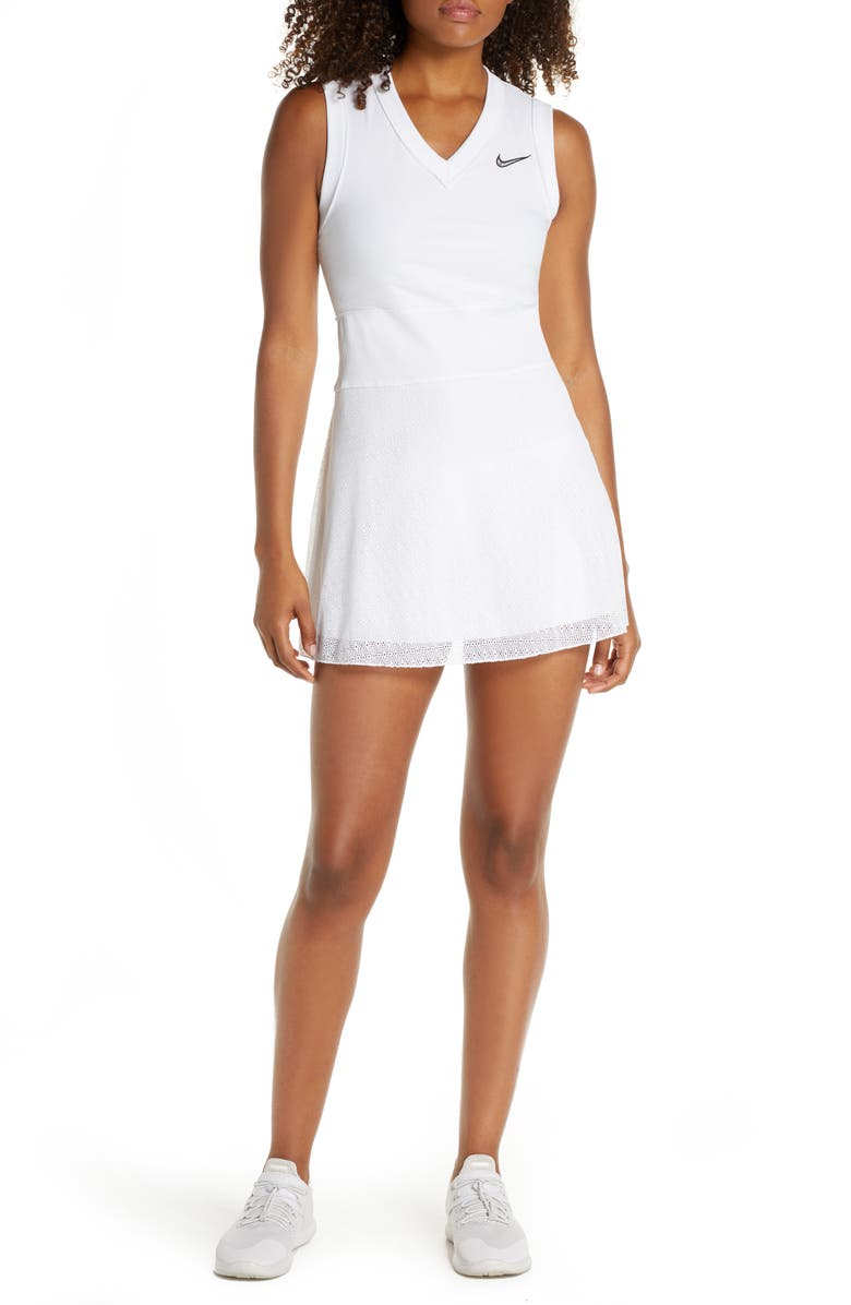 NIKE Court Slam Tennis Dress, Main, color, WHITE/ BLACK