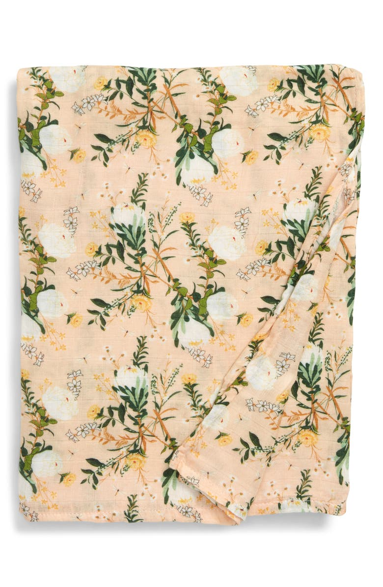 LOULOU LOLLIPOP Blushing Protea Deluxe Muslin Swaddle Blanket, Main, color, BLUSHING PROTEA
