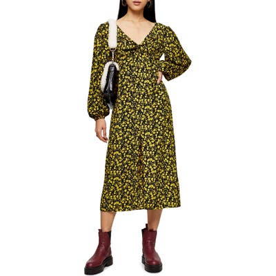 Topshop Floral Godet Twist Front Long Sleeve Midi Dress, US (fits like 14) - Black