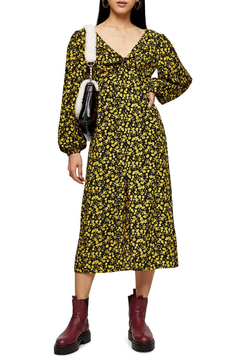 TOPSHOP Floral Godet Twist Front Long Sleeve Midi Dress, Main, color, BLACK MULTI
