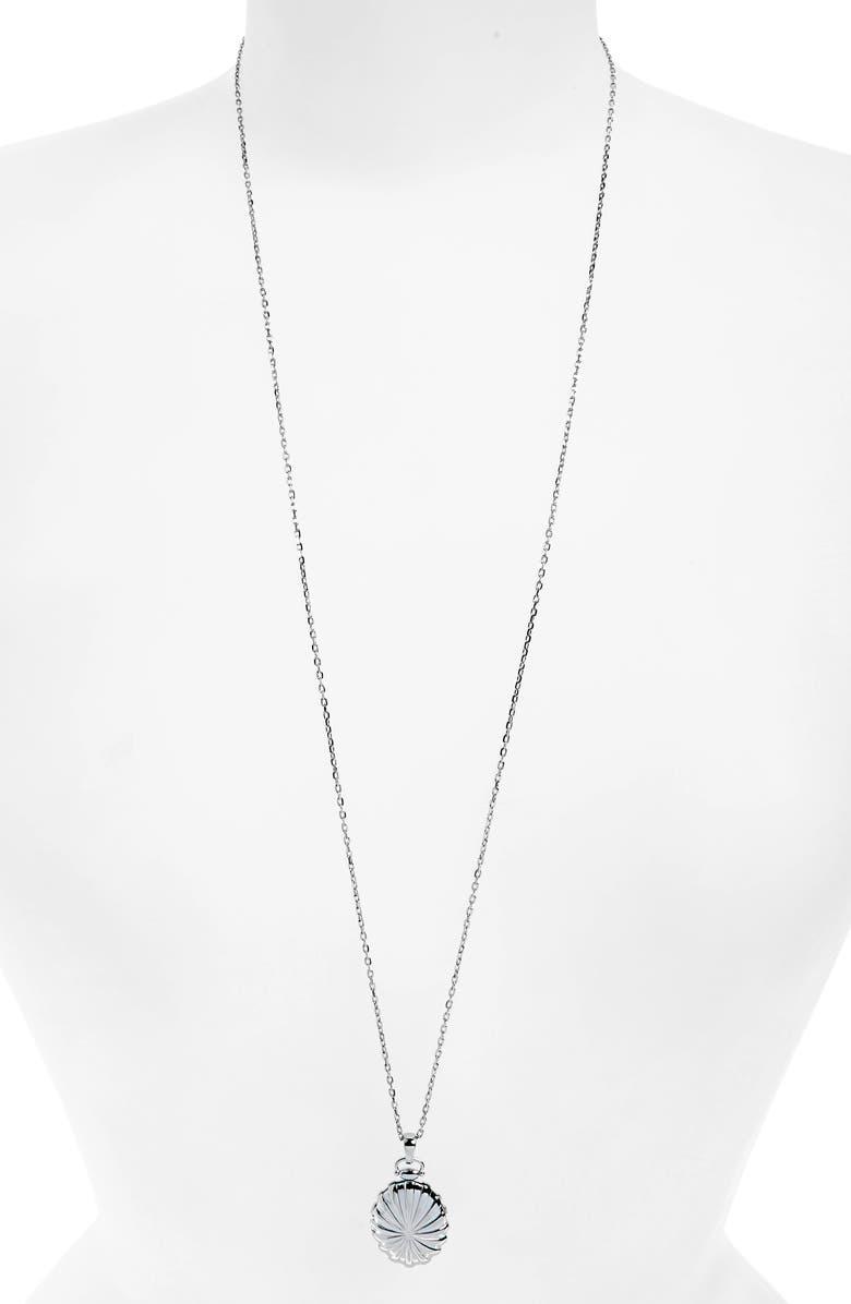 MONICA RICH KOSANN Sunburst Locket Necklace, Main, color, STERLING SILVER