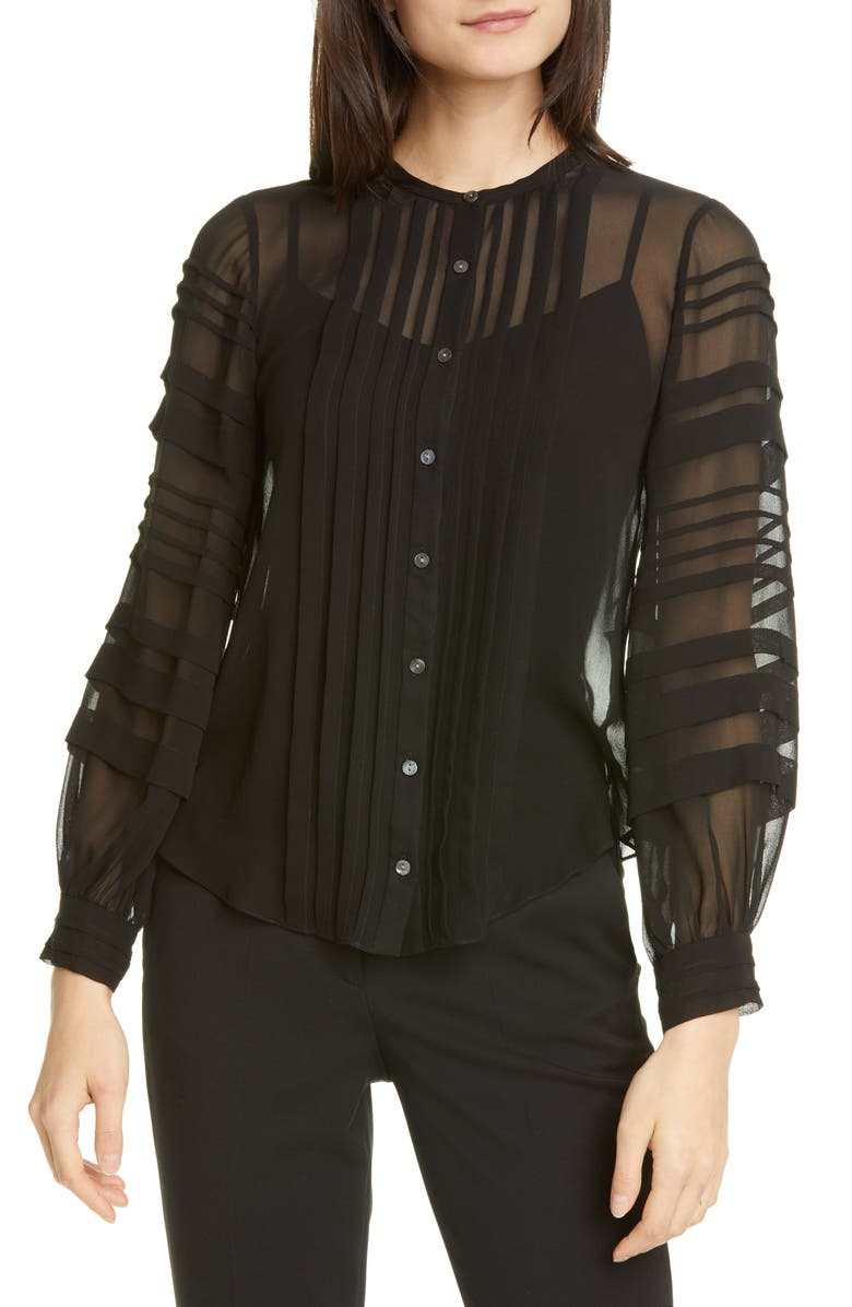 REBECCA TAYLOR Pintuck Long Sleeve Silk Chiffon Blouse, Main, color, BLACK