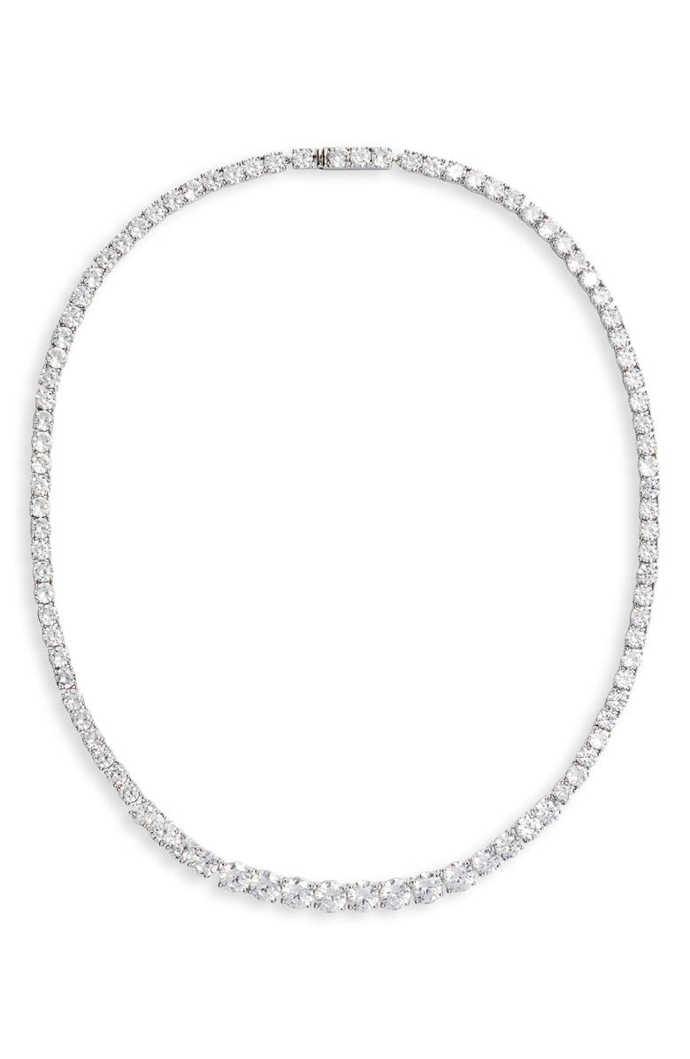 NORDSTROM Graduated Cubic Zirconia Collar Necklace, Main, color, CLEAR- SILVER