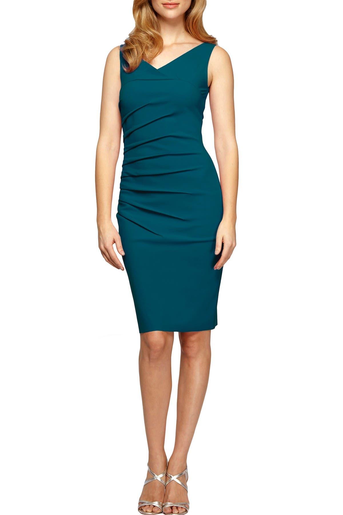 Image of Alex Evenings Starburst Tuck V-Neck Sheath Dress