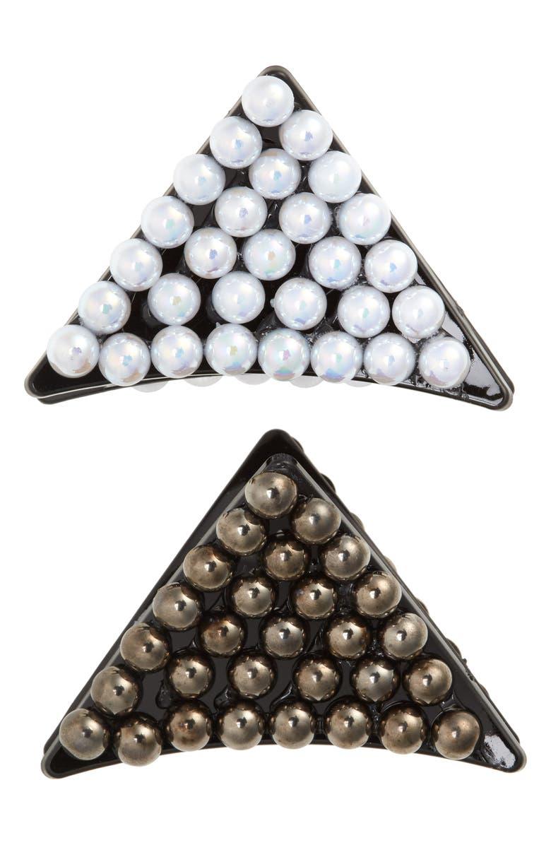 TASHA 2-Pack Pearlescent Bead Triangle Jaw Clips, Main, color, HEM/ PEARL
