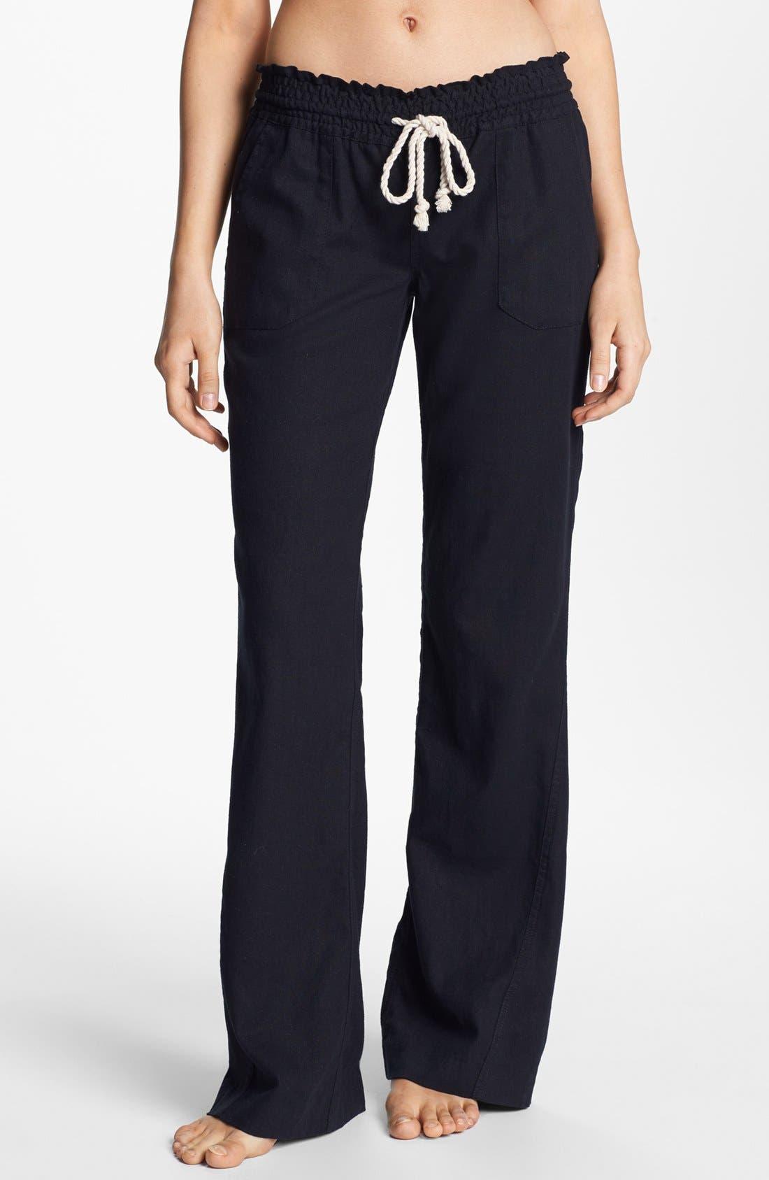 Roxy women/'s small Oceanside beach pants in living coral linen blend