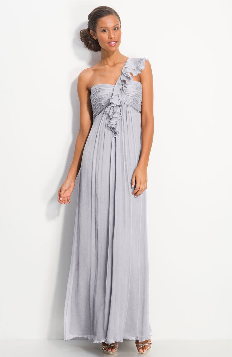 AMSALE Ruffled Chiffon One Shoulder Gown, Main, color, 040