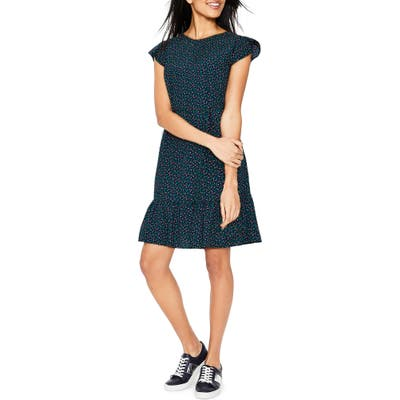 Petite Boden Cynthia Flounced Dress, Blue