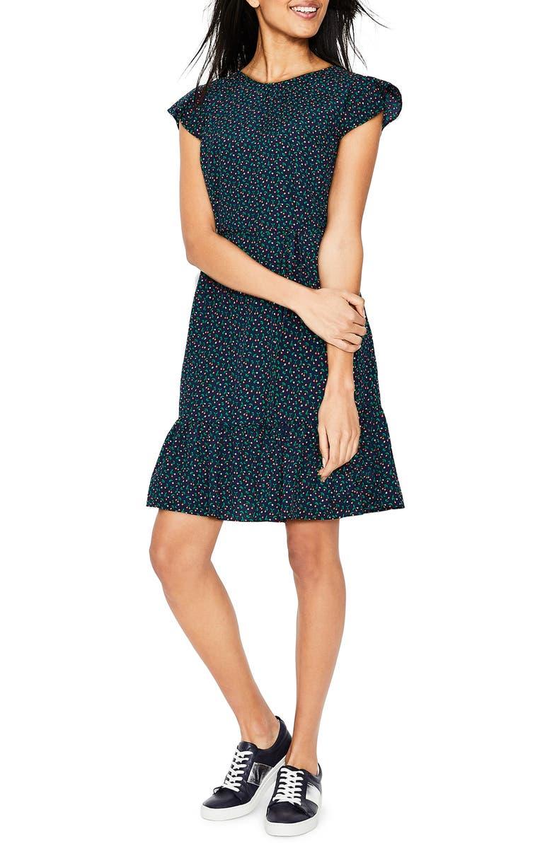 BODEN Cynthia Flounced Dress, Main, color, NAVY CHERRY PICKING