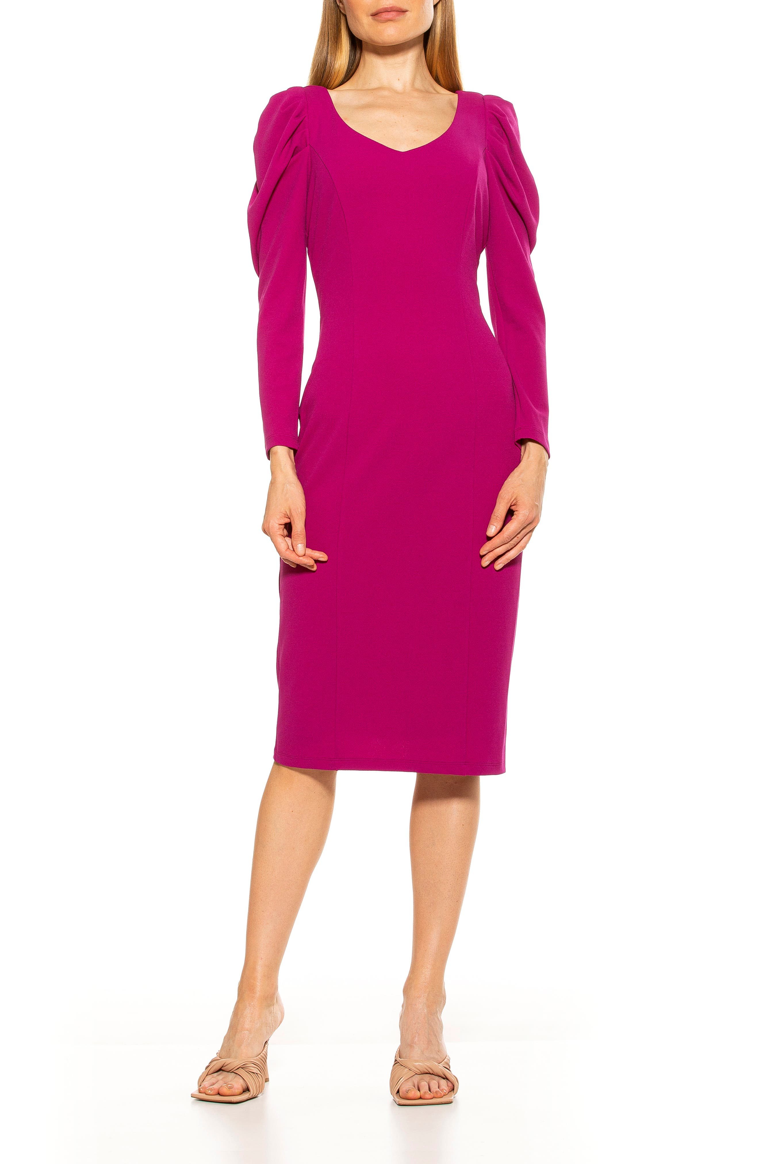 80s Fashion— What Women Wore in the 1980s ALEXIA ADMOR Puff Sleeve V-Neck Sheath Dress Size X-Large in Magenta at Nordstrom Rack $79.97 AT vintagedancer.com