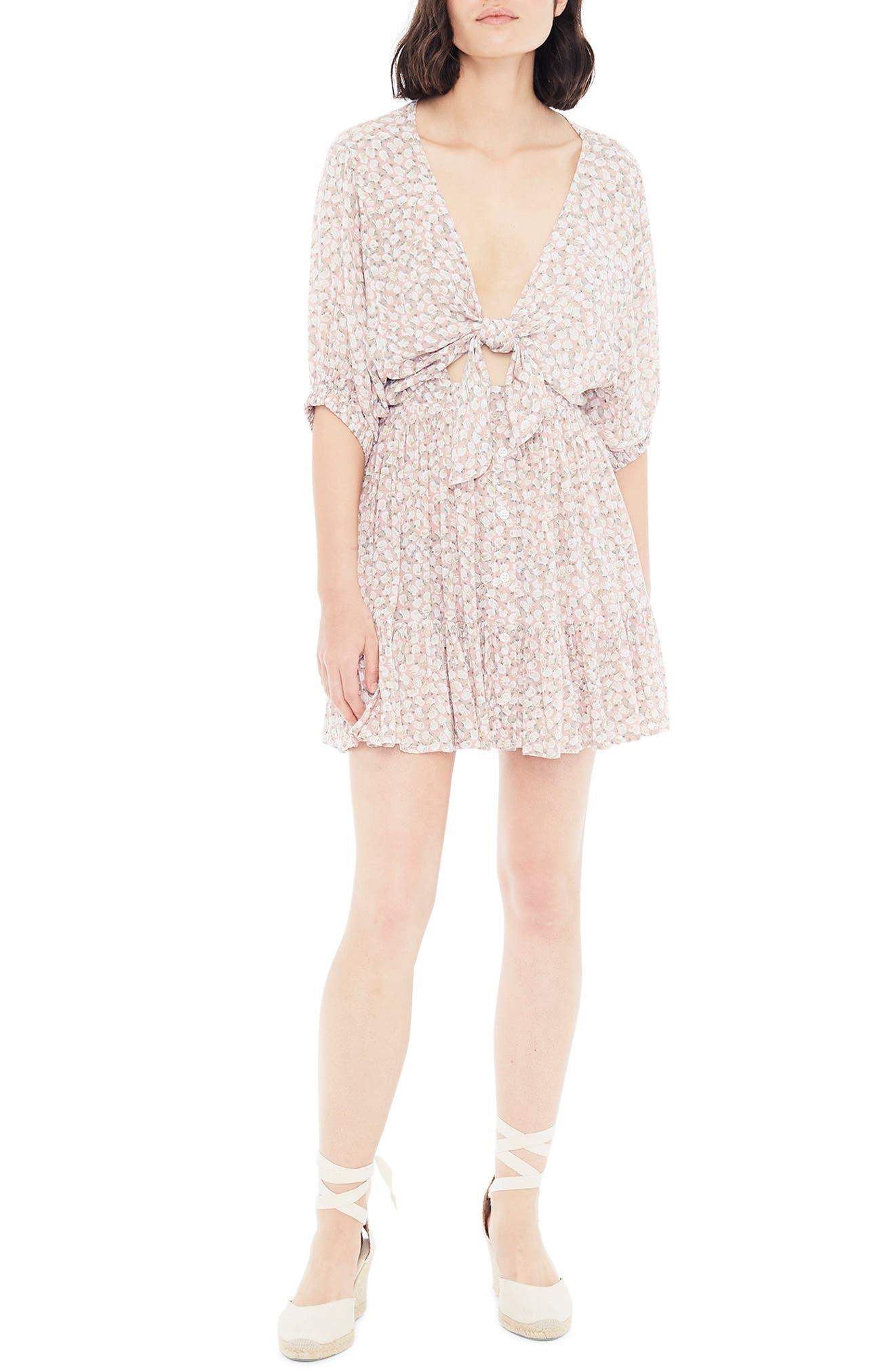 Faithfull The Brand Marigot Tie Front Minidress, Pink
