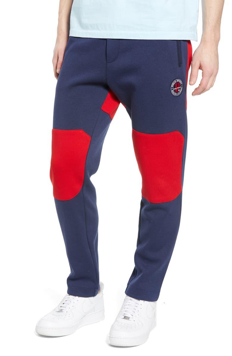 POLO RALPH LAUREN Colorblock Piqué Track Pants, Main, color, 410