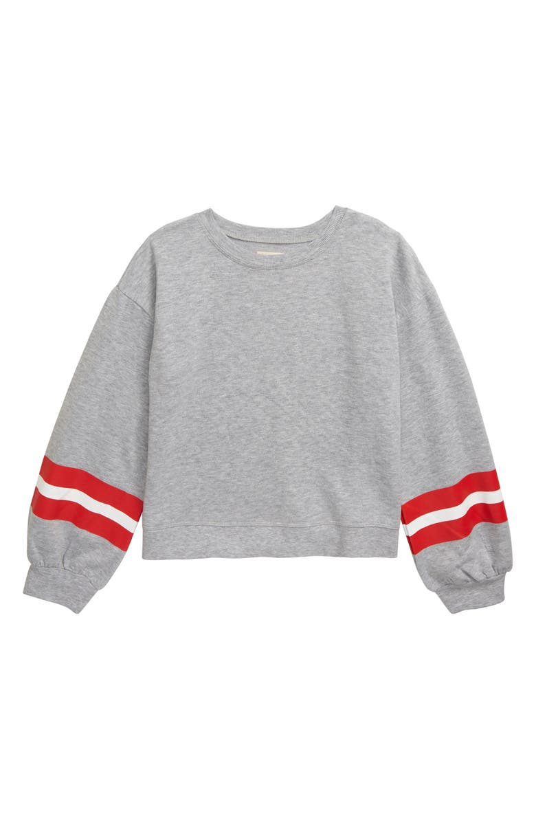 TUCKER + TATE Varsity Pullover, Main, color, GREY ASH HEATHER