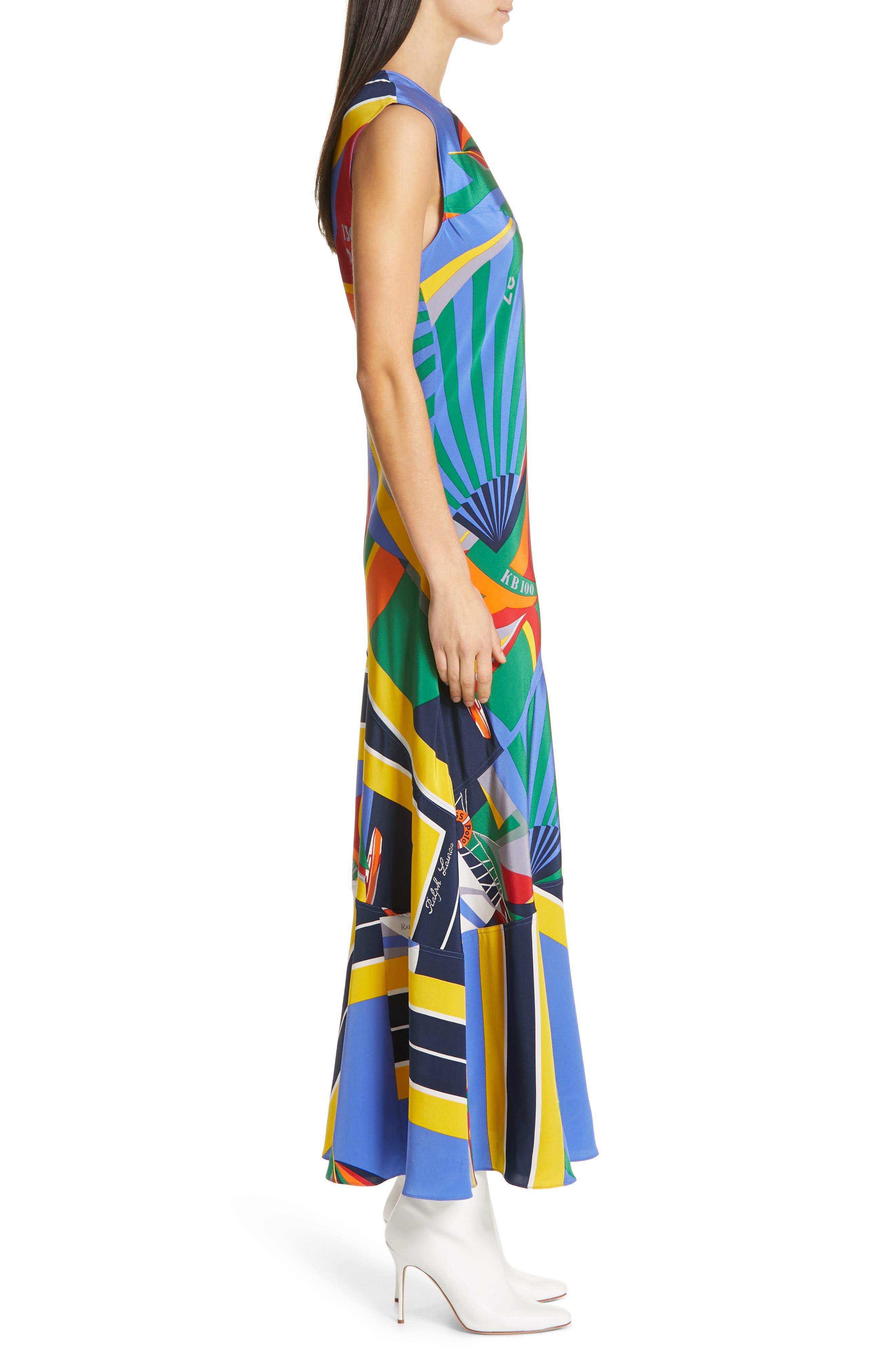 ,                             Sleeveless Silk Maxi Dress,                             Alternate thumbnail 4, color,                             WINDY SAILBOAT PRINT