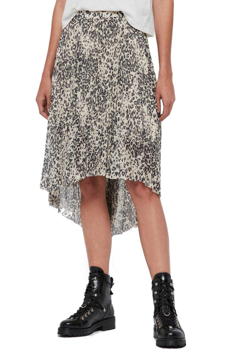 ALLSAINTS Lea Leopard Print High/Low Skirt, Main, color, IVORY WHITE