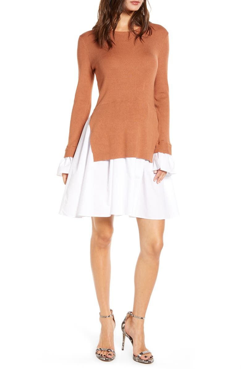 ENGLISH FACTORY Combo Knit & Poplin Dress, Main, color, BROWN