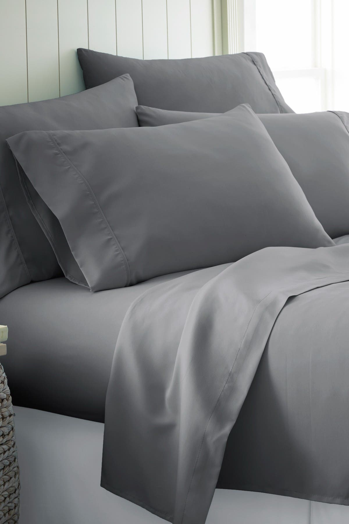 Image of IENJOY HOME Full Hotel Collection Premium Ultra Soft 6-Piece Bed Sheet Set - Gray