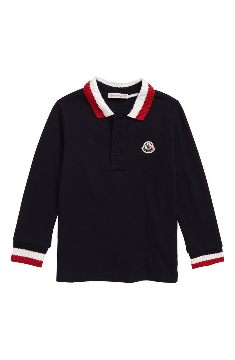 MONCLER Logo Patch Polo, Main, color, NAVY