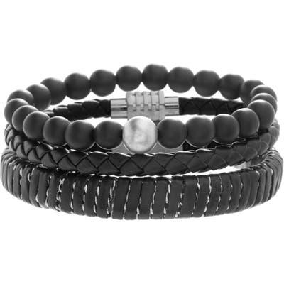 Ben Sherman Set Of 3 Beaded & Leather Bracelets